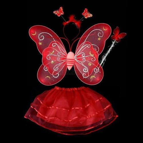 4Pcs Kinder Mädchen Fee Schmetterlingsflügel Stirnband Tutu Rock Cosplay Kostüm