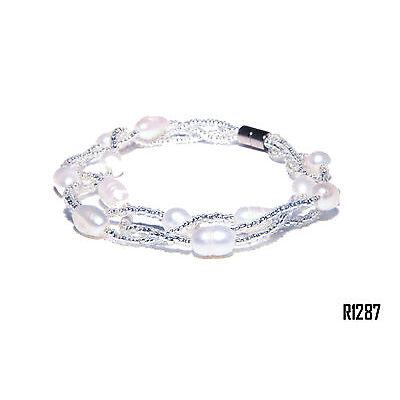 Echt Süßwasser Zucht Perlenkette Armband Armkette 18cm Magnetverschluß R1287