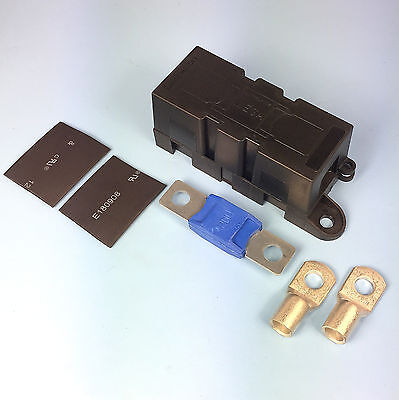 Quality Heavy Duty Mega Fuse Holder With 225 AMP Mega Fuse Terminals Heat Shrink