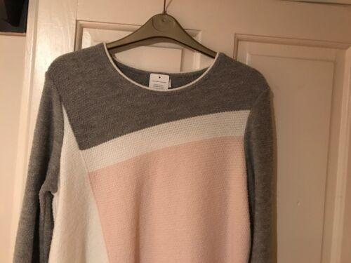 44 Ladies Faber Link Nuovo Jumper con grigio Bianco etichette Size UpRnfWq