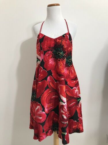 Bob Mackie Knits Silk Halter Dress Floral Poppy Tu