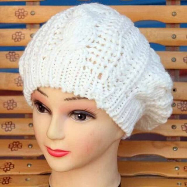New Fashion 10 Colors Warm Winter Women Beret Braided Baggy Beanie Hat Ski Cap