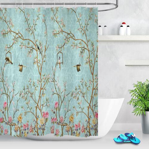 "Waterproof Fabric Shower Curtain Set Vintage Little Flowers and Birds Design 72/"""