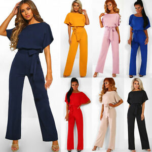 UK Womens Formal Evening Party Sleeveless Playsuit Jumpsuit Flared Long Trousers