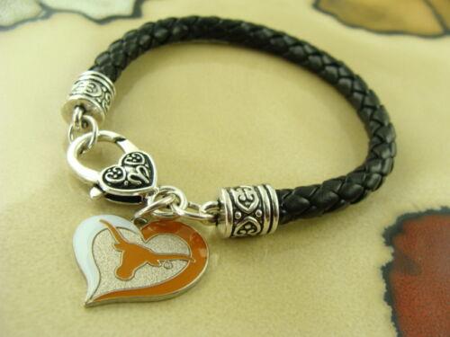 TEXAS LONGHORNS college sports Aminco charm on Black leather silver bracelet