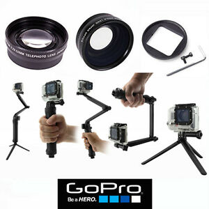 FISHEYE LENS + TELEPHOTO ZOOM LENS + 14 WAY BRACKET FOR GOPRO HERO4 SILVER BLACK