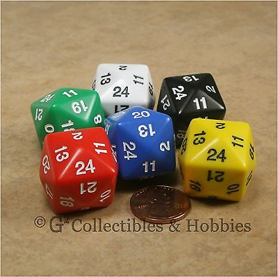 NEW Set of 6 D24 Polyhedral Game Dice 24 Sided RPG D&D 24mm Koplow