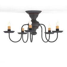 Thorndale 5 arm Ceiling Light in Hartford Black over Red & Stripe Irvins Tinware