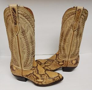 c2615bb92ad Details about Larry Mahan Cowboy Boots Python Reptile Snakeskin Leather Tan  Women's 7 M