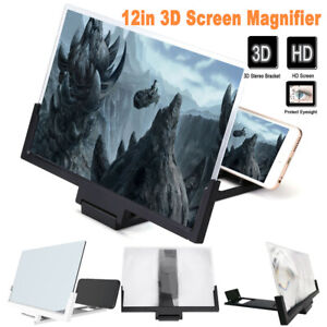 """12"""" Mobile Phone Screen Magnifier 3D HD Video Amplifier Pull-out Stand Bracket"""