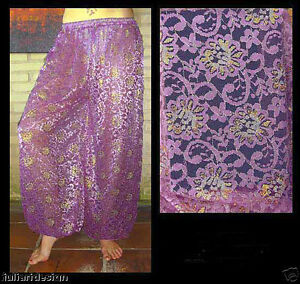 Purple Floral Lace Dance Gold Pants Belly Harem Silver W Pattern qwpI71WA