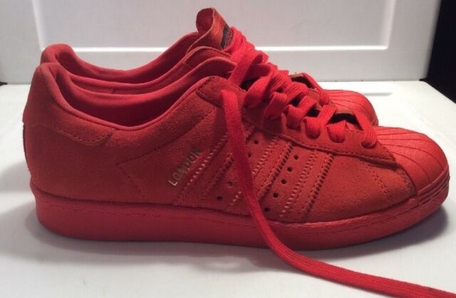 Adidas Originals London Red Suede City Series Superstar 80 s Size ... 11f97bfa439