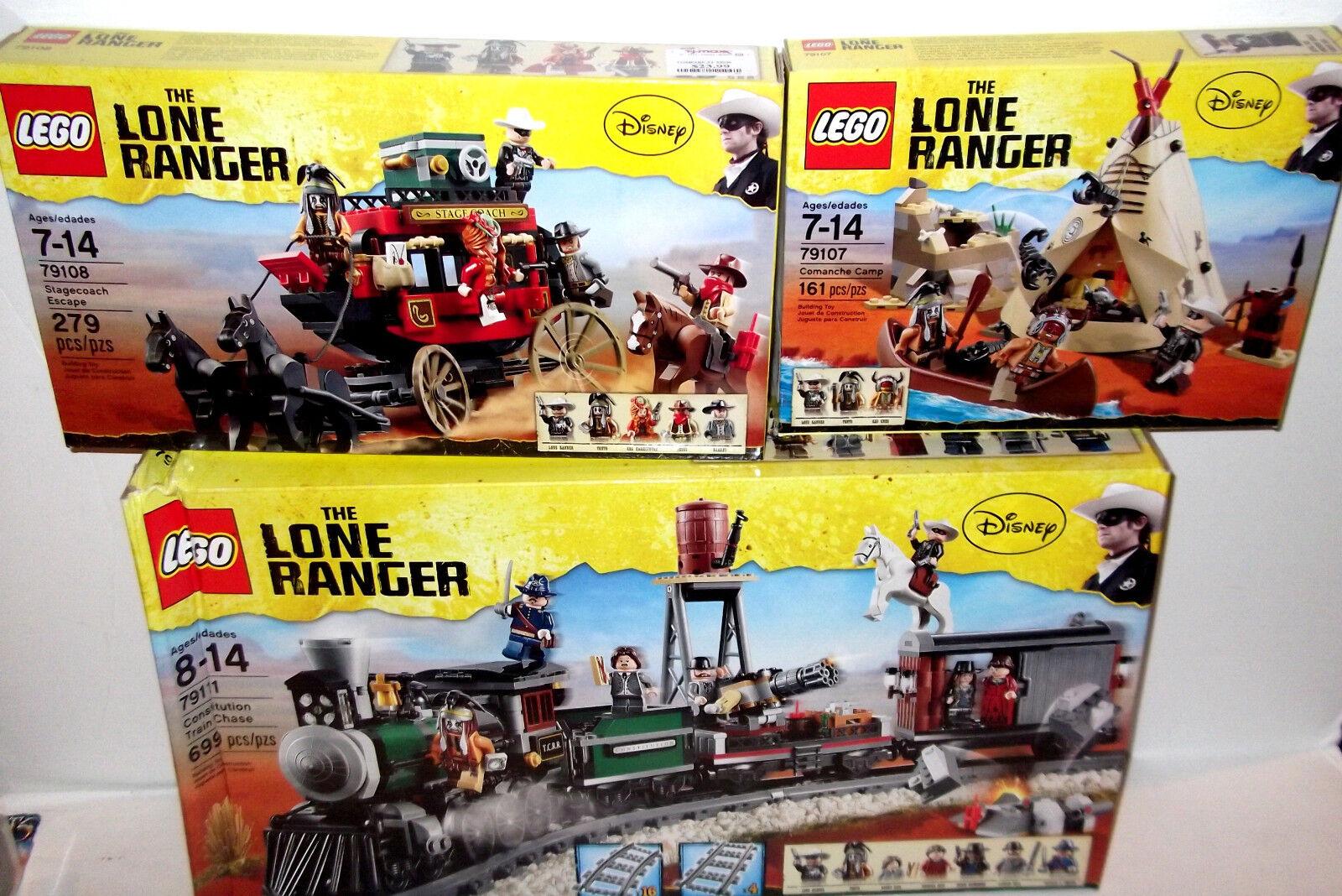 LEGO LOT  ✰ LONE RANGER Constitution Train ✰ 79111 79108 79107 retirosso nuovo SEALED  sconti e altro
