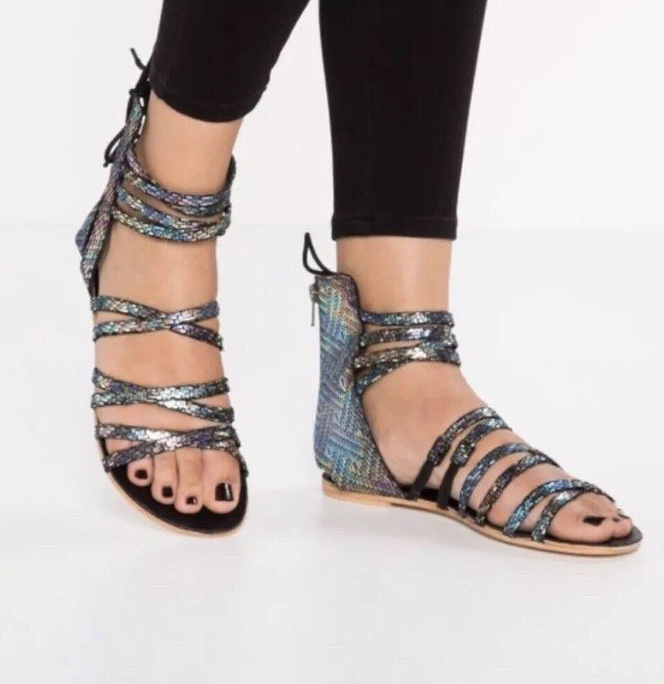 Free People Juliette Wrap Black Black Black Gladiator Sandals Size 41 dbfc2c