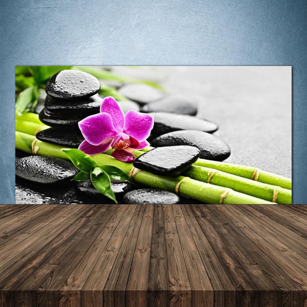 Crédence de cuisine en verre Panneau 140x70 Art Pierres Fleur Bambou