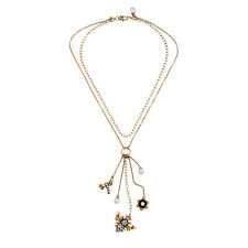 Stylish Anthropologie Dragon Fly Beetle Flower Charm Double Chain Dangling Neckl