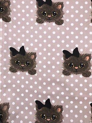 fotoprint cats Katzen braun Baumwolle Meterware Kinderstoff BAUMWOLLSTOFF