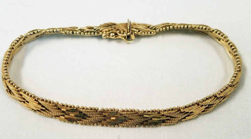 Heavy 14K Yellow gold Beaded Border V Panel Link Bracelet 7 1 4  Long