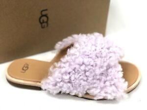 03c01eb48a0 Details about UGG Australia Women's JONI Lavender Fog CURLY SHEEPSKIN SLIDE  SANDALS 1019967