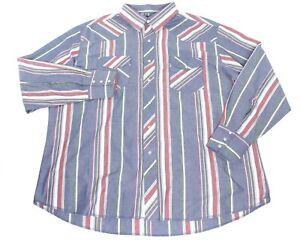 VTG-80s-Wrangler-Mens-Size-XXL-Pearl-Snap-Western-Rodeo-Stripe-L-S-Shirt-EUC