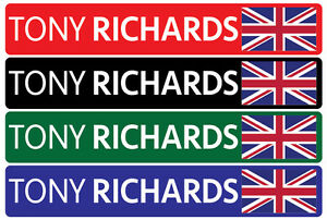 4 x Personalised Name /& Flag Cycling Helmet Frame Bike Team Sticker 12mm Decal