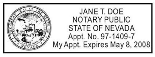 Nevada State of NevadaCustom Rectangle Self-Inking NOTARY SEAL RUBBER STAMP
