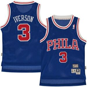 cheap for discount 969bf f40ec Details about BOYS SIZES 8-20 Allen Iverson Philadelphia 76ers Sixers BLUE  Throwback Jersey