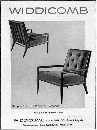 Widdicomb T H Robsjohn Gibbings Chair MID CENTURY MODERN FURNITURE 1949  Print Ad