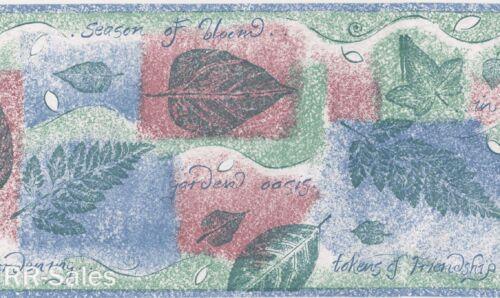 Leaf Block Prints Garden Oasis Friendship Springtime Vtg Wall Wallpaper Border