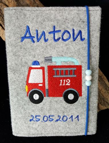 U-Heft Hülle// Feuerwehr Auto personalisiert Namen Geburtsdatum 112 Junge