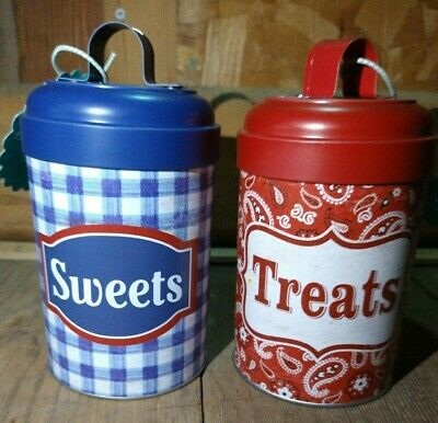 "Pioneer Woman Blue Storage Tin /""Sweets/"" With Lid"