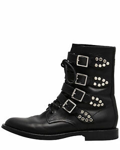 eaaa6a91255 Image is loading NEW-Saint-Laurent-Military-Boots-Rangers-Chain-Moto-