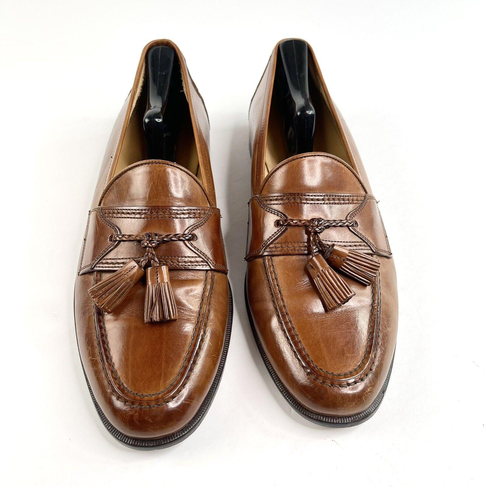 Johnston & Murphy Cellini Slip-On Brown Leather Tassel Italian Loafers 10 M Men