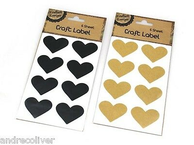 96 x Love Heart Vintage Rustic Stickers Craft Kitchen Jar Jam Label Tags