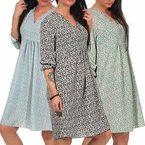 Damen Kleid Damenkleid Midi 3 4 Armel Knielanges Sommerkleid Sublevel Lsl 394 Ebay