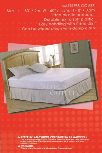 Queen Size Fitted Plastic Sheet Allergy Protector Mattress Cover Single Full