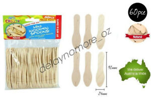 Details About 60 Mini Wooden Spoons Craft Scrapbooking Ice Cream Diy School Project