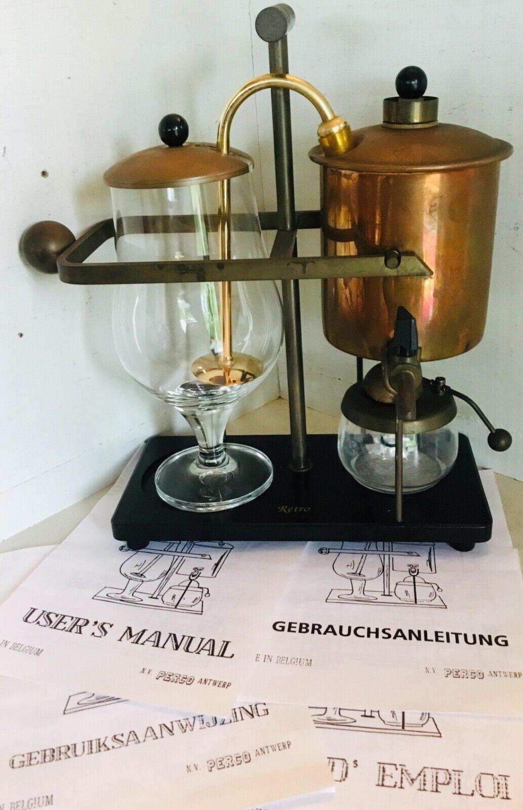 Vintage café maker  Cafécravatere by Perco Antwerp Brass glass Manual ENG FR DE NL