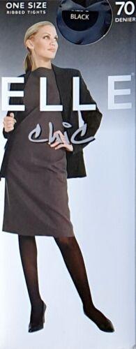 One Size Elle Chic 70 Denier Ribbed Tights Black Grey Navy Bottle Green Large