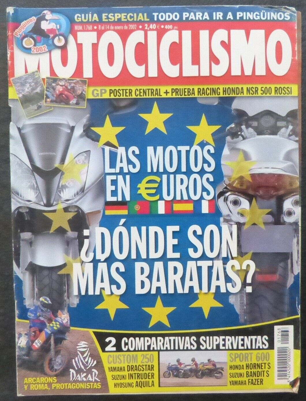 REVISTA MOTOCICLISMO,AÑO 2002,NUMERO 1768, Las motos en €uros ?Donde mas baratas