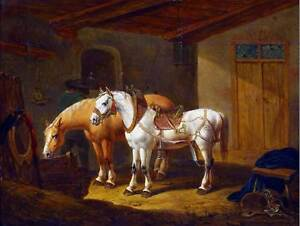 PAINTING-INTERIOR-STUDY-ANIMAL-DALLINGER-HORSES-STABLE-POSTER-ART-PRINT-BB12787B