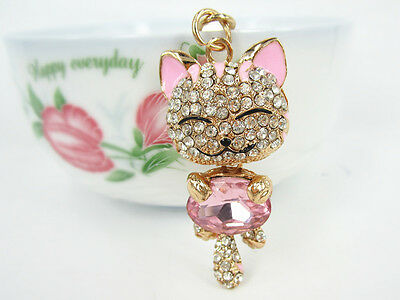 KC012 NX Lucky Cat Keyring Swarovski Crystal Charm Pendant KeyChain Bag Gift