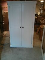 Painted Pine Shabby Chic School Cupboard Linen Press Storage 4 Interior Shelves
