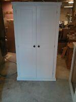 Painted Pine Shabby Chic School Cupboard Linen Press Storage 4 Interior Shelves