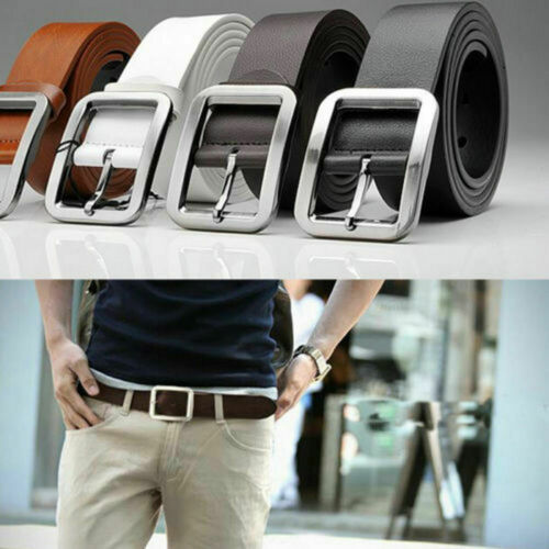 Men/'s Genuine Leather Trouser Belt Casual Pin Buckle Waist Strap Belts Waistband