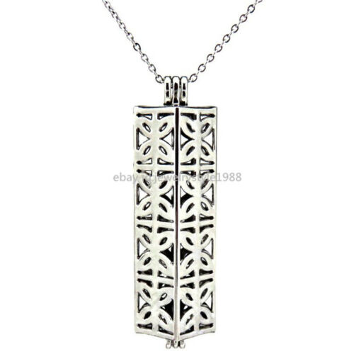 K174 Silver Pearl Bead Cage Butterfly Rectangle Locket Necklace Stainless Chain