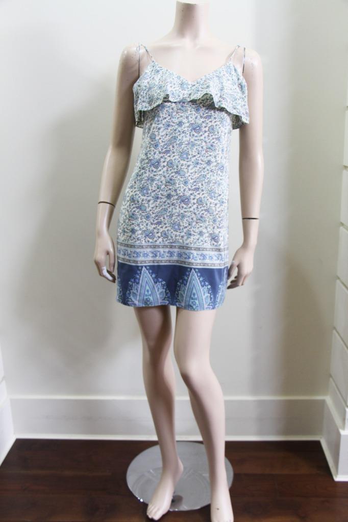 New Auth Tibi Silk Print Slip Ruffle Back Dress US 4