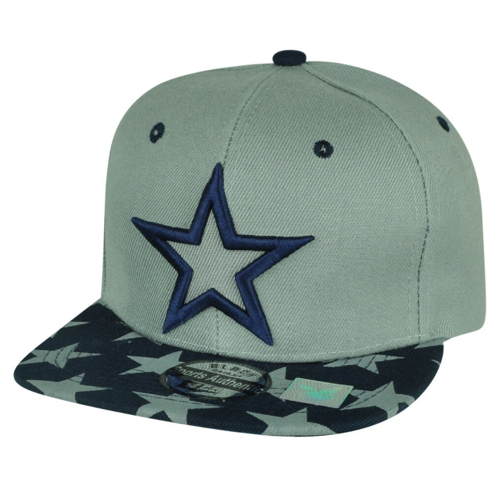 Star Flache Bill Snapback Kappe Grau Marineblau 2Tone Verstellbar Patriotisch