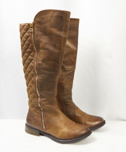 Details about STEVE MADDEN Northsde Cognac Brown Leather Quilted Knee High Riding Boot Women 6