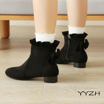 Womens Girls Sweet Bowtie Ankle Boots Flats Low Heels Zip Princess Boots Plus Sz